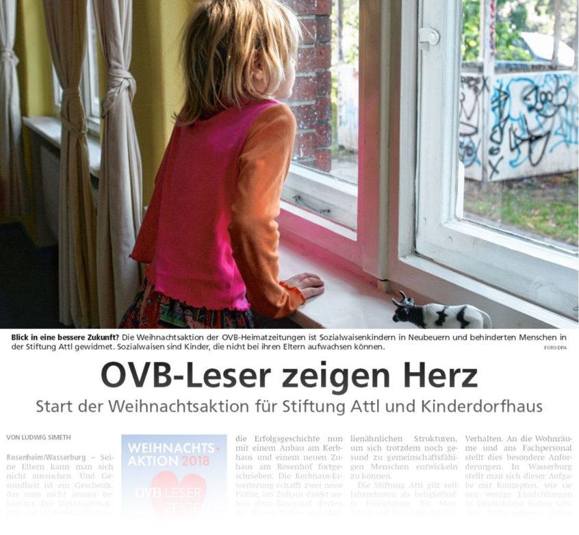 Leser des Oberbayerischen Volksblatt OVB zeigen ein Herz für die Kinder des Albert Schweitzer Kinderdorfes